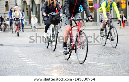 Bicyclists on their way home