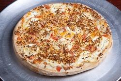 Bid tasty delicious yummy pizza 4 cheese closeup.