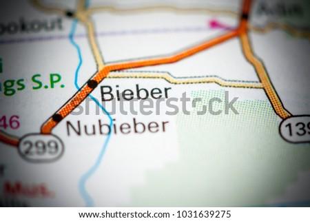 Bieber. California. USA on a map.