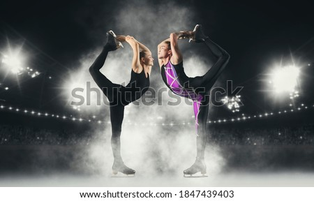 Photo of  Biellmann spin. Couple figure skating in action. Sports banner. Horizontal copy space background