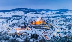 Biertan, Romania. Winter in the Saxon village. Unesco World Heritage Site in Transylvania.