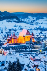 Biertan, Transylvania. Saxon village with medieval fortress in Romania, famous place Eastern Europe.