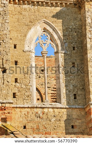 Bifore - San Galgano Abbey - stock photo