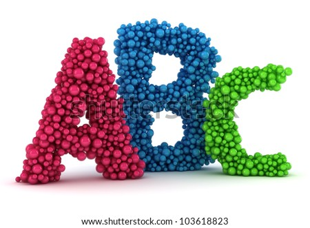Big A  B  C letters made from  C In Colorful Bubble Letters