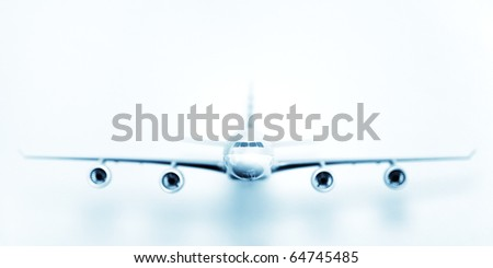 Big airplane on white background