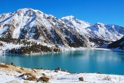 Big Almaty Lake. Blue freshwater lake in the mountains of Kazakhstan.