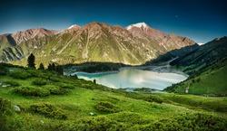 Big Almaty Lake in the mountains of Zaili Alatay, Kazakhstan, Central Asia