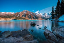 Big Almaty Lake is natural alpine reservoir. It is located in the Trans-Ili Alatau mountains, 15 km south from the center of Almaty in Kazakhstan