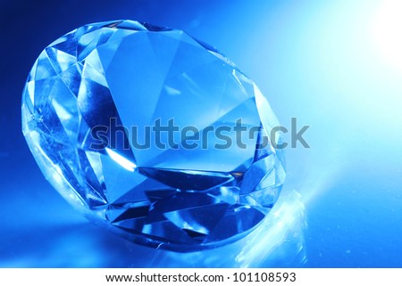 Big and beautiful jewel in blue light
