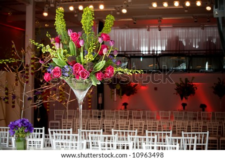 stock photo big and bold flower arrangements for the tables