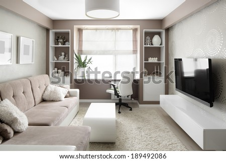 big and bright interior of modern living room #189492086