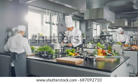 Shutterstock Big and Glamorous Restaurant Busy Kitchen, Chefs and Cooks Working on their Dishes.