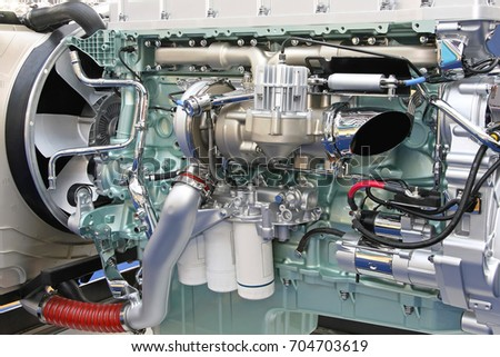 Big and powerful diesel truck engine #704703619