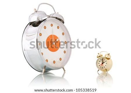 Big and small alarm clocks, Isolated on white