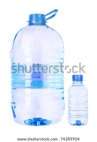 Big and small  bottle of water isolated on a white background