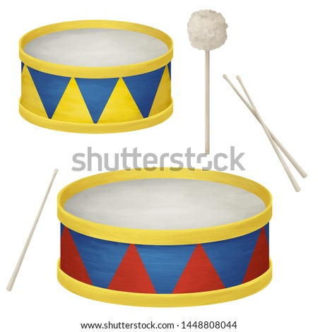 Big and small drums. Bright musical clip art, individual elements kit on white background