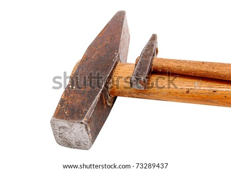 Big and small rusty hammer, isolated on white background