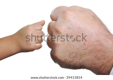 Big and small, two hands - stock photo