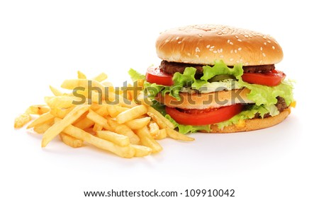 Big and tasty hamburger and fried potatoes isolated on white