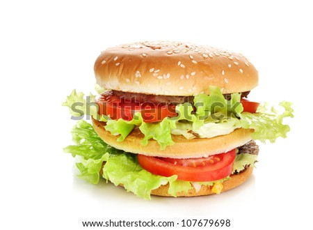 Big and tasty hamburger isolated on white