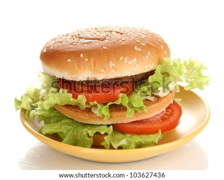 Big and tasty hamburger on plate isolated on white - stock photo