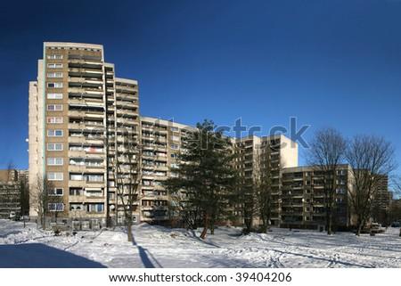 Big apartment houses, seen in Kassel Brueckenhof, Germany