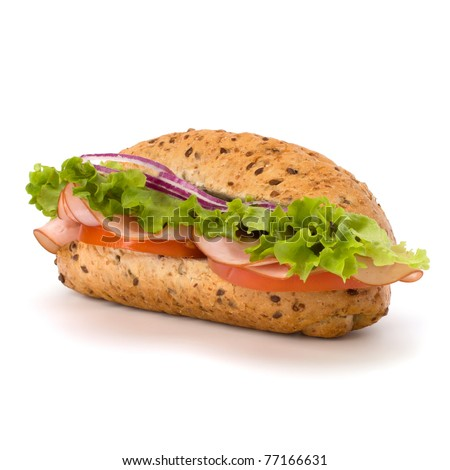 Big appetizing  fast food baguette sandwich with lettuce, tomato, smoked ham and cheese isolated on white background. Junk food