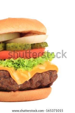 Big appetizing hamburger. Close up. Whole background.