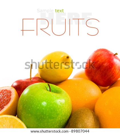 Big assortment of fruits of a white background