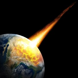 Big asteroid crashing on the surface of an Earth planet. Elements of this image furnished by NASA.