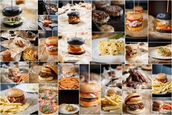 Big background with American hamburgers served on plates in fastfood restaurant.Street food cafe menu