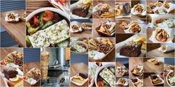 Big background with fastfood restaurant dinner menu.Unhealthy,but tasty dishes in cafe.Roasted meat rich with cholesterol & saturated fat