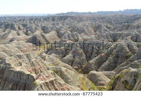 Big Badlands Overlook view of sweeping badlands rock formations - stock photo
