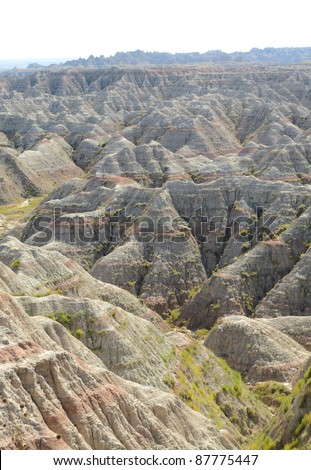 Big Badlands Overlook view of sweeping badlands rock formations