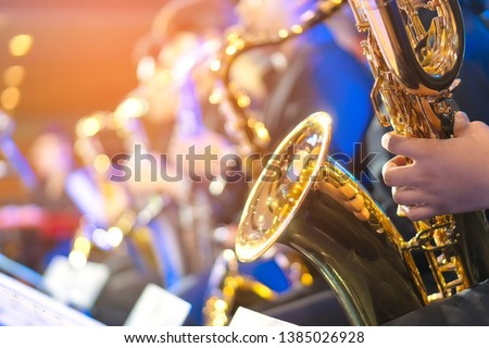 Big Band saxophone section copy space for text #1385026928