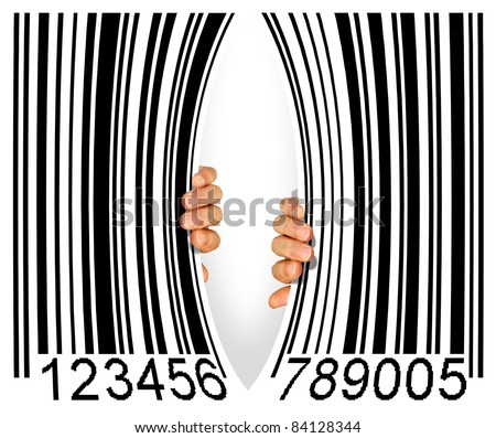 Big bar code torn apart in the middle by two hands - Consumerism concept