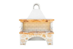 Big Barbecue Open Fireplace For Cookout Food. Outdoor BBQ Grill. Open Summer Kitchen. Barbeque Grill Made From Bricks On The Backyard. Isolated On a White Background.