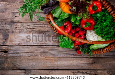 Big Basket with different Fresh Farm Vegetables. Harvest. Food or Healthy diet concept.Vegetarian.selective focus. #613509743