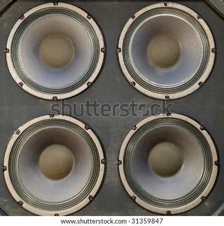 Big bass speakers in a pro audio speaker cabinet.
