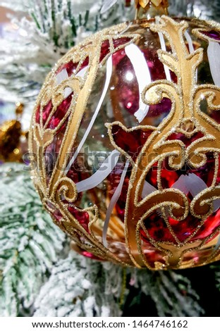 Big beautiful ball. Christmas tree decorations and decorations in the design.