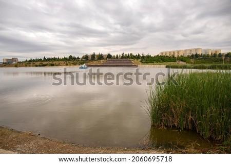 Big beautiful lake in Heydar Aliyev park. Ganja. Azerbaijan.