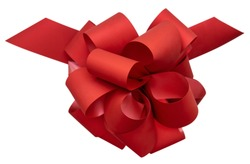 Big beautiful red bow for gift, gift wrapping, banner, advertisement, congratulation. View from above.