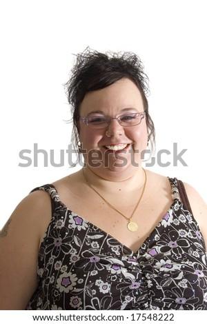 big beautiful woman isolated on white background