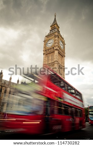 Big Ben and a London double decker bus