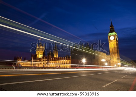Big Ben and British Parliament with traffic lights.