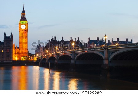 Big Ben and House of Parliament at night, London UK