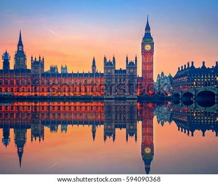 Big Ben and Houses of parliament at dusk in London #594090368