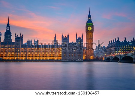 Big Ben and Houses of parliament at dusk, London, UK