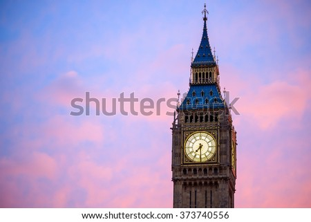 Big Ben and Houses of parliament at twilight in London, UK #373740556