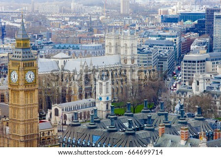 Big Ben and London old city center, United Kingdom. Aerial view            #664699714